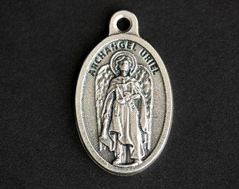 Archangel Uriel Medal. Catholic Pendant. Saint Uriel Charm. St Uriel Pendant. 25mm x 16mm (Qty 1)
