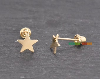 14K Yellow Gold Star Screw Back Studs Post Earrings for Children Girls Toddler Baby Women Perfect Gift Simple Dainty Cute