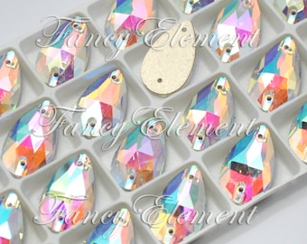 Glass Teardrop (3230) Clear AB Sew On Rhinestones Flatback Jewelry Beads Foiled Back Pear