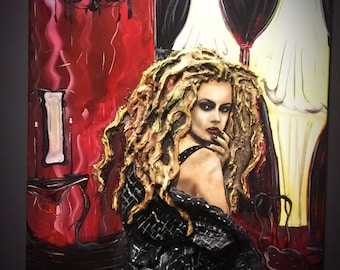 Dark Boudoire - Original Dark Art Sculpted Painting - Vampire Girl w/ Blood Red Curtains