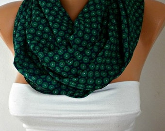 Emerald Green & Brown Infinity Scarf Teacher Gift Summer Circle Scarf Loop Scarf  Gift Ideas For Her Women's Fashion Accessories