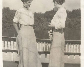 """Vintage Photo """"Mother's Advice"""" Teenage Daughter Back Of Head Shadows On Skirts Victorian-Era Found Vernacular Photo"""