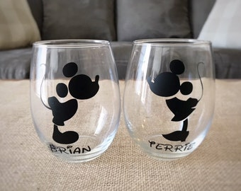 Mickey Mouse Wine Glass | Minnie Mouse Wine Glass | Engagement or Wedding Gift | Bride and Groom Disney | Disney Wedding | Disney Wine Glass