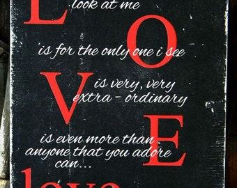 L-O-V-E song by Nat King Cole ~ Valentine Typographic wall art ~ Red Black and White ~ Distressed wood