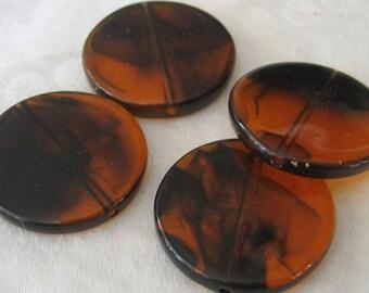Set of 4 VINTAGE Faux Tortoise Round Beads