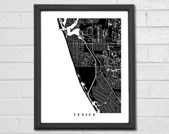 Venice Map Art - Map Print - Black and White Print - Florida - Hometown Map - Personalized - Custom - Travel Gift - Housewarming Engagement