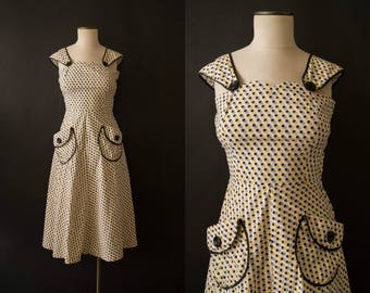 vintage 1940s dress / 40s cotton day dress / small / Honeycomb Dress