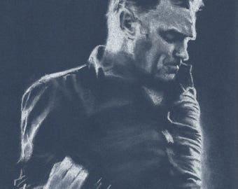 Original A4 chalk drawing of Morrissey.