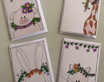 Hand drawn and colored blank note cards