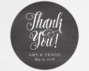Thank You Wedding Favor Labels, Thank You Favor Tags, Thank You Favor Stickers, Wedding Labels, Printed Labels, Monogram, Script, Chalkboard
