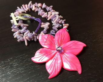 Island Flora Coral and Mother of Pearl and Coral Necklace in Ultra Violet Fuchsia