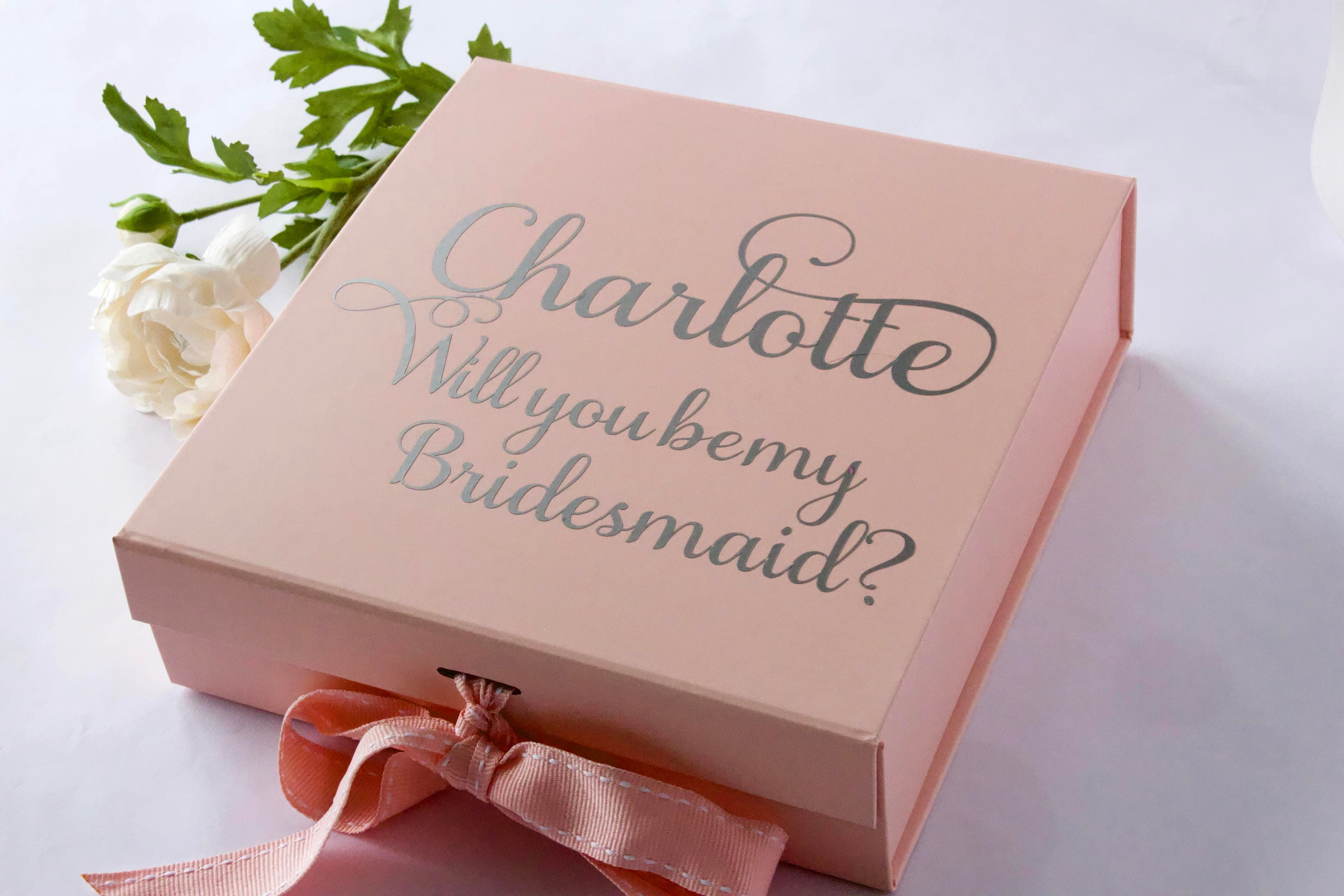 Personalised Medium Pink Gift Box with Ribbon and Magnetic