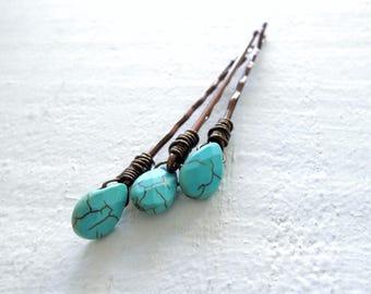 Turquoise Stone Boho Hair Pins Bohemian Wedding Accessory Something Blue Gift for Bride Turquoise Howlite Gemstones Decorative Bobby Pins