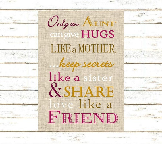 Aunt Gift Only An Aunt Can Give Hugs Poem Print And Pop Into