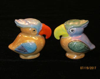 Vintage Japanese Lusterware Parrot Salt and Pepper Shakers