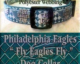 Polyester Webbing Argyle Philadelphia Eagles Fly Eagles Fly Go Green NFL Football Designer Novelty Dog Collar