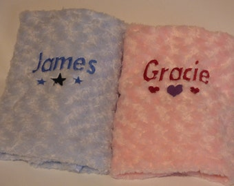 Personalised baby blanket, blue or pink