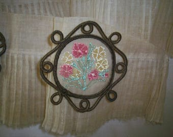 Antique silk metal appliqué authentic 1910s