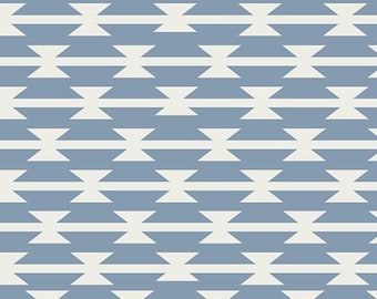 Tomahawk Stripe Cloud,  After Arizona Collection,  Aztec Fabric, Art Gallery Fabrics, April Rhodes, Blue and White Fabric,