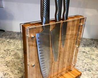 Bamboo Knife Block 9""