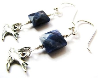 SALE, Handcrafted Sodalite Earrings, Natural Blue Stone, Bali Sterling Silver Bird Earrings, Woodland, Nature, Ready to Ship, Gift Box