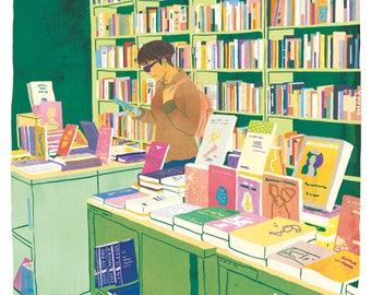 Bookstore poster, Bookstore Illustration, Books print, Library illustration, 5x7, Woman reading art