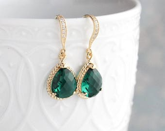 Emerald Green Glass Earrings Christmas Holiday Party Jewelry Gold Drop Modern Sparkly Jewel Bridesmaids Gift for Women Cubic Zirconia
