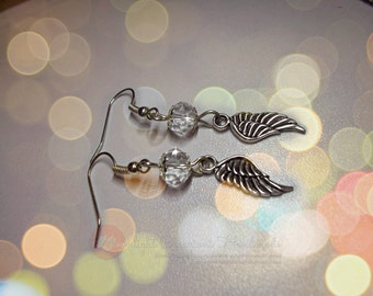 Wing Earrings with swarovski crystal