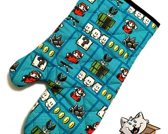 Oven mitt made with Mario Squares fabric