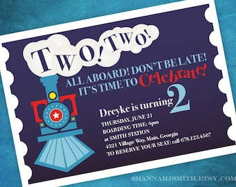 Two Two Train Themed 2nd Birthday Party Invitation Print Your Own