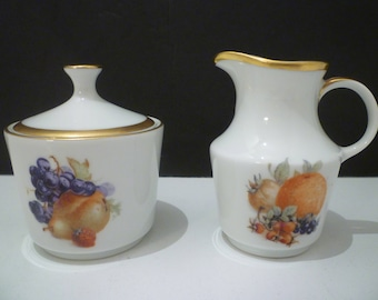 "SUGAR & CREAMER.  Vintage German China Sugar and Creamer. Elegant ""HARVEST"" Pattern Bavarian China Sugar and Creamer. Tea for 2 size."