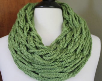 Light Olive Green Single Loop Arm Knit Scarf