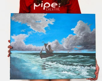 Epic Return | 18x24 Original Seascape Ship Painting Acrylic on Canvas