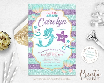 Mermaid invitation etsy digital mermaid invitation little mermaid birthday invitation mermaid party mermaid birthday mermaid filmwisefo Gallery