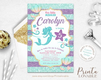 Mermaid invitation etsy digital mermaid invitation little mermaid birthday invitation mermaid party mermaid birthday mermaid filmwisefo