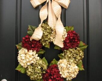 Wreaths, Hydrangea Wreath, Holiday Wreaths, Etsy Wreaths, Holiday Wreath for Door, Door Wreaths
