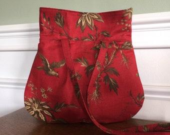 Everyday Purse - Handbag - Red Reproduction Floral Print - Designer Fabrics - made to order