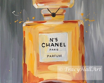 Chanel Perfume Art PRINT Chanel No. 5 Gray Gold Iconic Fashion Art