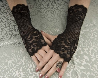"""Exquisitely fitted Steampunk / Goth / EGL Beautiful 9"""" long Black lace fingerless glove wristlettes - all sizes available"""