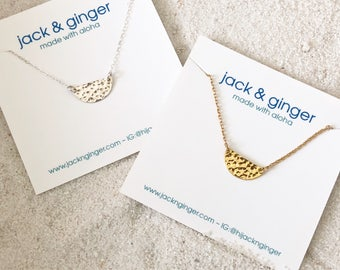 Dimpled Half Moon Necklace