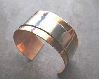 Sterling Silver & Copper Layered Thick Bangle Cuff. Highly Polished. Made in any size/combination. Unisex gift or treat yourself!