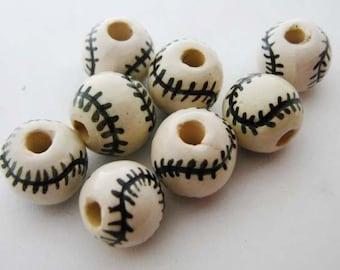 10 Baseball Beads (large)