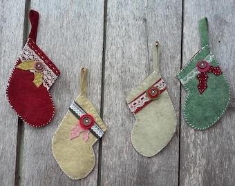 Four Felt Stocking Decorations