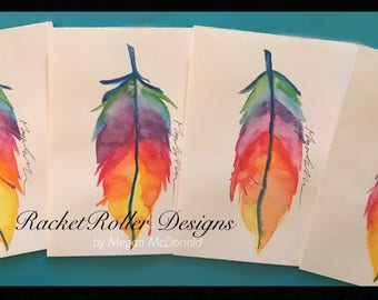 Feather in watercolor , greeting cards