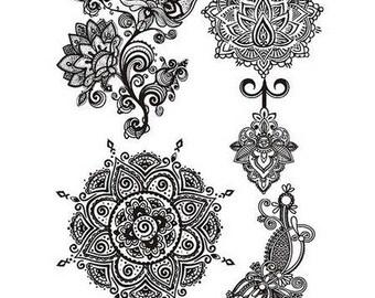 Tatouage Fleur Noir Etsy