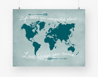 World map watercolor download adventure awaits printable teal world map wall art download travel quote poster arrows teal wall decor printable map of gumiabroncs Images