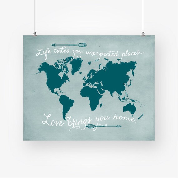 Teal world map wall art download travel quote poster arrows te gusta este artculo gumiabroncs Image collections