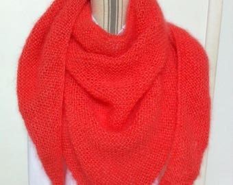 Trendy coral shawl wool mohair silk and luxury Lang
