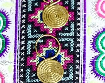 Hmong spiral earrings/Brass earrings/Tribal earrings/Boho ethnic earrings