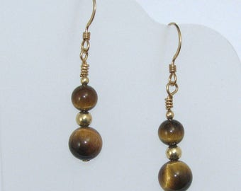 Tiger's Eye Earrings on Gold Filled Ear Wires, Natural Stone Earrings, Genuine Tiger's Eye Jewelry, Stone Jewelry, Brown and Gold Earrings